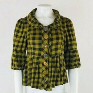 Ivy Jane Plaid Oversized Buttons Top